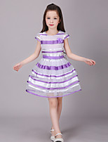 Girl's Casual/Daily Patchwork Dress,Cotton / Polyester Summer / Spring Pink / Purple