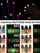 3PCS Noctilucent Jelly Glow Luminous Nail Polish in 1 Set Glow-in-dark(6 Set Selected, 5.5ML*3PCS)