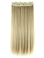 peluca negro y oro de 60 cm de alta temperatura longitud del cable de extensión del pelo recto pelo sintético