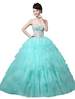 Formal Evening Dress Ball Gown Strapless Floor-length Tulle / Stretch Satin