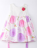 Girl's Print Dress,Cotton Summer White