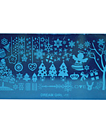 HOT Christmas DIY Stamping Plates Nail Templates Snow Flower Image Stencils for Nails Polish Decor Dream Girl-11