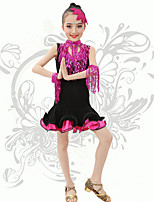 Latin Dance Children's Performance Spandex Sequins / Tassel(s) V Neck Dresses