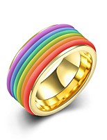 lureme® Golden Plated  Stainless Steel Men Women Classic Rainbow Striped Colorful Ring