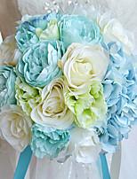 Bouquets de Noiva Redondo Rosas / Peônias Buquês Casamento / Festa / noite Azul Poliéster / Cetim / Organza / Flôr Seca / Strass