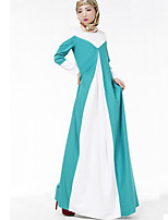 Women's Simple / Boho National Style Color Block Slim Sheath Dress,Round Neck Maxi