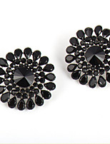 Black Flower Shiny Droplets Resin Stud Earrings Daily 1 pair