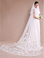 Wedding Veil One-tier Cathedral Veils Cut Edge Tulle / Lace Ivory Ivory