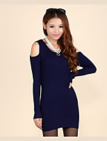 Women's Solid Blue / Red Dress,Sexy / Street chic Long Sleeve