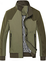 Men's Long Sleeve Jacket,Cotton / Acrylic / Polyester Casual Solid / Patchwork 916179