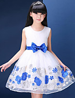 Girl's Cotton Summer Embroidery Bowknot  Cream Princess Dress  Lace Dress