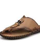 Zapatos de Hombre-Sandalias-Casual-Cuero-Marrón / Caqui / Camello