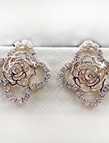 Women's Noble and Elegant Style of the Four Petal Rose Diamond Earrings