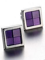 Unisex Fashion Purple Face Silver Alloy French Shirt Cufflinks (1-Pair)