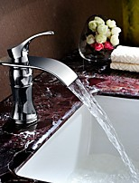Centerset Single Handle One Hole in Chrome Bathroom Sink Faucet Modern