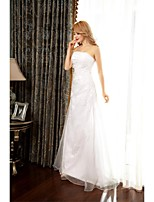 A-line Wedding Dress-Sweep/Brush Train Strapless Organza