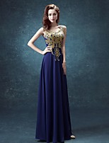Formal Evening Dress-Ink Blue A-line Scoop Floor-length Chiffon
