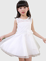 Girl's Pink / White Dress,Patchwork Cotton / Polyester All Seasons