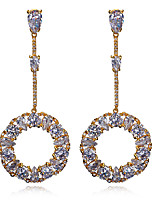 New look Romantic Banquet Round shape 18K Gold plated 4 colors Cubic zircon Drop earrings for women
