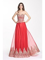 Formal Evening Dress A-line Sweetheart Floor-length Chiffon with Appliques / Lace
