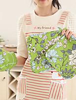 cuisine coton cuisson four micro-ondes et pad 1pc 2colors gant 2pcs gants moufles (bleu vert)
