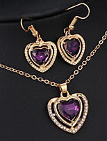 Love Pink Crystal Pendant Necklace Female Earrings Jewelry Sets