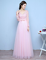 Formal Evening Dress A-line V-neck Floor-length Lace / Tulle with Appliques