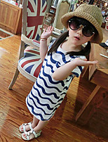 Girl's Cotton Fashion Wavy Striped Printing Dresses