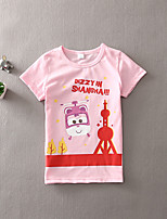 Girl's Casual/Daily Print Tee,Cotton Summer Green / Pink / White