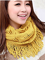 Tassels Thick Pure Color Collars Autumn And Winter Lady Wool Hollow Scarf