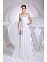 A-line Wedding Dress Court Train Scoop Satin with Beading / Draped / Ruche