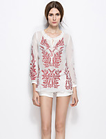 LIFVER Women's Round Neck Long Sleeve Shirt & Blouse White-S1466