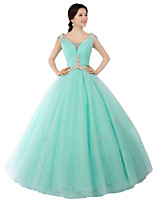 Formal Evening Dress Ball Gown Scoop Floor-length Satin / Tulle / Stretch Satin with Crystal Detailing