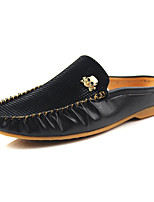 Men's Shoes PU Casual Loafers Casual Flat Heel Black / Black and White