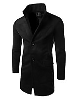 Men's Striped Casual Trench coat,Cotton Long Sleeve-Black / Brown / Gray