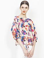 Europrimo® Women's Round Neck 3/4 Length Sleeve Shirt & Blouse Red-EUFCZ107