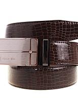 A4002-2 Men's Belts Cowskin Faux Crocodile Pattern Youth Leisure Business Automatic Buckle Belts Coffee