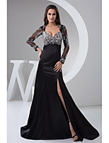 Formal Evening Dress A-line Sweetheart Sweep / Brush Train Stretch Satin with Appliques / Beading / Crystal Detailing / Split Front