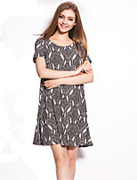 Women's Vintage / Simple Floral Loose Dress,Round Neck Above Knee Polyester
