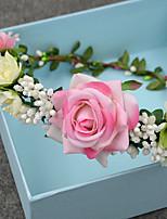 Mulheres / Menina das Flores Tecido Capacete-Casamento / Ocasião Especial / Casual / Ao ar Livre Grinaldas 1 Peça Redonde