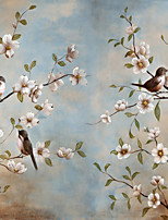 JAMMORY Trees/Leaves Wallpaper Country Wall Covering,Canvas Large Mural Bird Trees