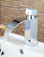 Stylish Single Handle Chrome Waterfall Bathroom Sink Faucet