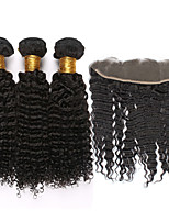 4pcs/lot Mongolian Kinky Curly Virgin Hair With Frontal Closure 13