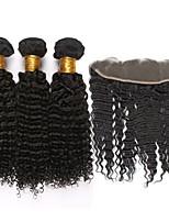 4pcs / lot mongol virginal del pelo rizado rizado con cierre frontal 13
