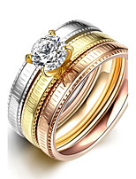 lureme® Classic Tricolor Stainless Steel with A Zircon Womens Girls Line Carved Rings 3 Pcs A Set