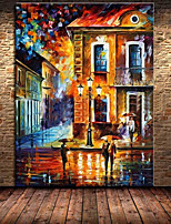 100% Handmade Street View Landscape Palette Canvas Oil Painting for Home Decor