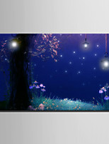 E-HOME® Stretched LED Canvas Print Art Under The Trees In The Garden LED Flashing Optical Fiber Print One Pcs