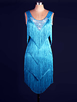 Latin Dance Dress Women's Performance Spandex / Organza / Sequined Tassel 2 Pieces Lake Blue Colors