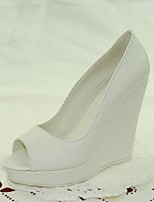 Women's Shoes Wedge Heel Peep Toe Sandals Wedding / Dress White