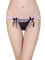 women's Openwork lace bow open crotch panties